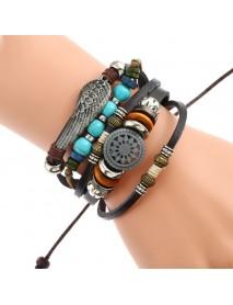 Adjustable Black Braided Leather Bracelet Multilayer Weave Bracelets Wing Turquoise Beads Bracelet