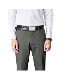Men Summer Pure Color Zipper Fly Long Pants Leisure Mid Rise Business Pocket Straight-leg Pants