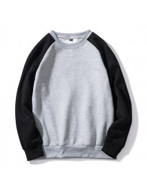 Autumn Winter Men's Loose Color Block Casual O Neck Long Sleeve Pullovers