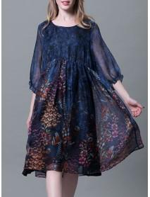 Plus Size Chiffon Dresses Loose Floral Dresses