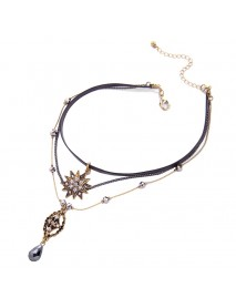 Sweet Multilayer Flower Leather Choker Necklace Water Drop Necklace Ethnic Jewelry for Women