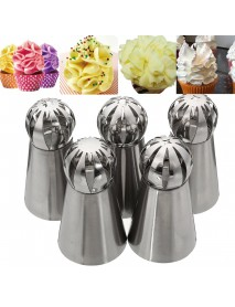 5pcs Stainless Steel Sphere Ball Icing Piping Nozzle Cup Cake Pastry Tips Decor
