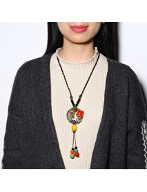 Ethnic Colorful Ceramics Beaded Tassel Necklace Flower Pendant Necklaces for Women Gift