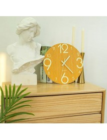 12'' Glow In The Dark Mute Wood Wall Clock For Home Living Room Outdoor Gifts