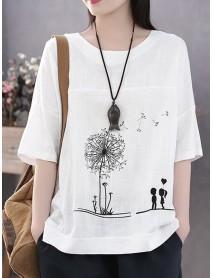 Casual Print Flower Short Sleeve Cotton T-Shirts