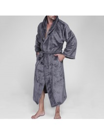 Mens Pure Color Thick Velvet Fleece Sleepwear Comfy Soft Hooded Pajamas Robe