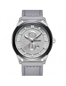 BAGARI 8009P Fashion Leather Strap Men Date Display Quartz Watch