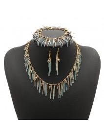 JASSY Women Jewelry Set Bohemian Luxury 18K Gold Plated Crystal Tassel Necklace Bracelet Earrings