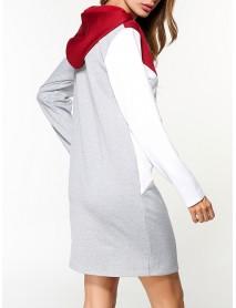 Casual Women Color Block Long Sleeve Hooded Sweatshirt Dress