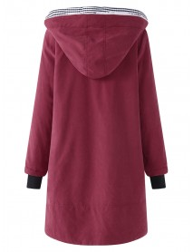 Casual Pure Color Hooded Pocket Coats
