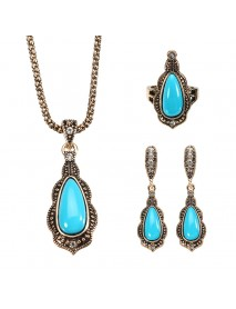 JASSY Bohemian Gold Earrings Natural Blue Stone Necklace Retro Rhinestones Ring Gift For Women