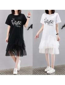 6811# Season New Letter Print Dress Female Short-sleeved Mesh Over The Knee Fat Mmt Shirt
