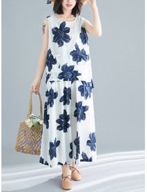 Floral Print O-neck Sleeveless Tops Wide Leg Pants Two Pieces Set
