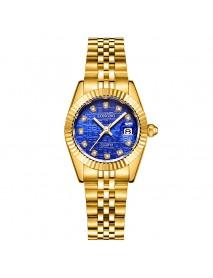 LONGBO 80435 Fashion Crystal Dial Full Steel Simple Date Display Waterproof Couple Quartz Watch