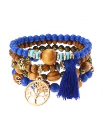 Vintage Hollow Tree of Life Elastic Beaded Bracelets Multilayer Tassels Charm Bracelets for Women