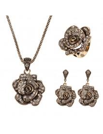 JASSY Vintage Gold Necklace Rhinestones Ring Retro Flower Earrings Gift Jewelry Set