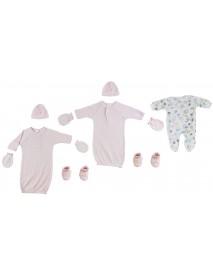 Preemie Girls Gowns, Sleep-n-Play, Caps, Mittens and Booties - 8 Pc Set