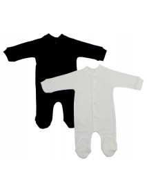 Bambini Interlock Black and White Closed-toe Sleep & Play (Pack of 2)