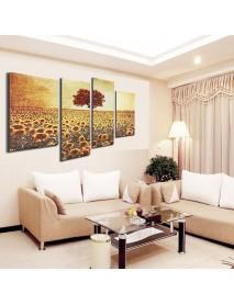 4PCS Frameless Oil Painting Sunflower Canvas Modern Wall Art Home Decoration Paper Art