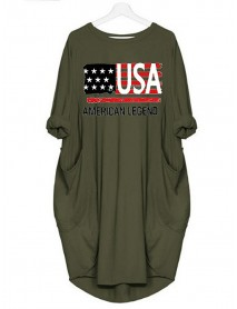 America Flag Print Independence Day Loose Daily Casual Dress