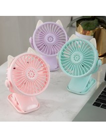 1200mAh 2 in 1 Mini USB Rechargeable Fan Portable Handheld Fan Cooling Summer Base Clip Fan With Night Light