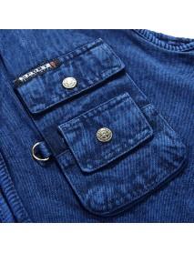 Mens Denim Photography Blue Zipper Multi Pockets Fishing Outdoor Casual Vest