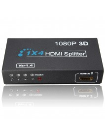 1 In 4 OUT HD 1080P 3D 1.4 HD Splitter Duplicator Amplifier Switch AC Adapter