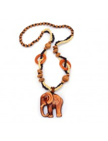 Trendy Handmade Wood Bead Long Chain Pendant Fish Elephant Charm Necklace for Women