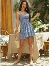 Bohemian Ditsy Floral V-neck Sleeveless Straps Pleated Mini Dress