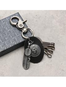 Gun Black Skull Pattern Keychain Feather Pendant Key Ring Halloween Gift for Unisex
