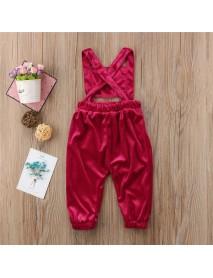 Girls Children Solid Color Back Cross Jumpsuit for 2Y-7Y