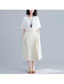 Literary Retro Elastic Waist Large Size Cotton And Linen Skirt Female
