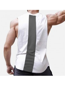 Men Stitching Back Solid Color Gym Sleeveless Tank Tops