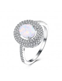 INALIS Opal Stone Platinum Plated Women Rings Unique Zircon Finger Ring Jewelry Gift