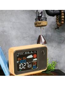 Digital USB Wifi Weather Forecast Station Desk Bamboo Alarm Clock Temperature Humidity APP Control