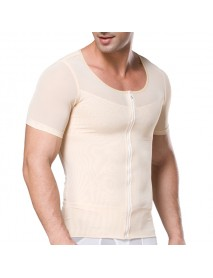 Men Sport Underwear Elastic Breathable Corset Body Shaper Zipper Abdomen Waist Trainer Shirts