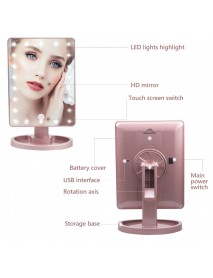 22 LED Light Touch Screen Makeup Mirror 10X Magnifying Glass Compact Vanity Mirror Flexible Cosmetics Mirrors