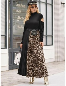 Plus Size Leopard Print Patchwork Pleated Long Skirts
