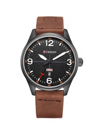 CURREN 8265 Men Sport Watch Military Leather Week Day Display Strap Casual Quartz Wrist Watch