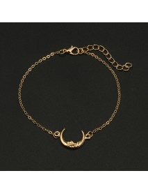 Trendy Multi-layer Anklet Moon Star Pearl Pendant Chain Anklet Bohemian Jewelry for Women