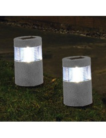 Garden Solar Stone Post White Warm White LED Light Outdoor Waterproof Decoration Lamp