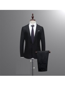 Men's Casual Formal Tuxedos Blazers Pure Color 2 Pieces Slim Fit Pants Suits