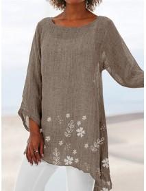 Asymmetrical Hem Print Long Sleeve Women Blouse