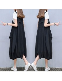A Word Skirt Casual Two-piece Suit New Large Size Women's T-shirt Strap Dress Suit Loose Dress