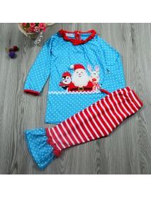 Christmas Kid Girls Santa Elk Pattern Long Sleeve Striped Clothing Suit