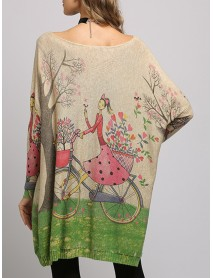 Plus Size Cartoon Girl Print Batwing Sleeve Knitted Sweaters