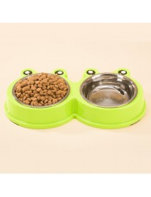 3Colors Frog Shape Pet Bowl Food Water Container Stainless Steel Dog Cat Feeder