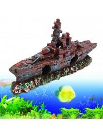 Aquarium Destroyer Navy War Boat Ship Wreck Fish Tank Cave Decorations Ornament