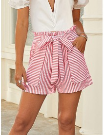 Casual Womens Stripe Double Pocket Lace Up Loose Shorts