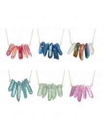 Colorful Cylinder Crystal Pendant Necklace Dress Accessories Chain Women Fashion Jewelry